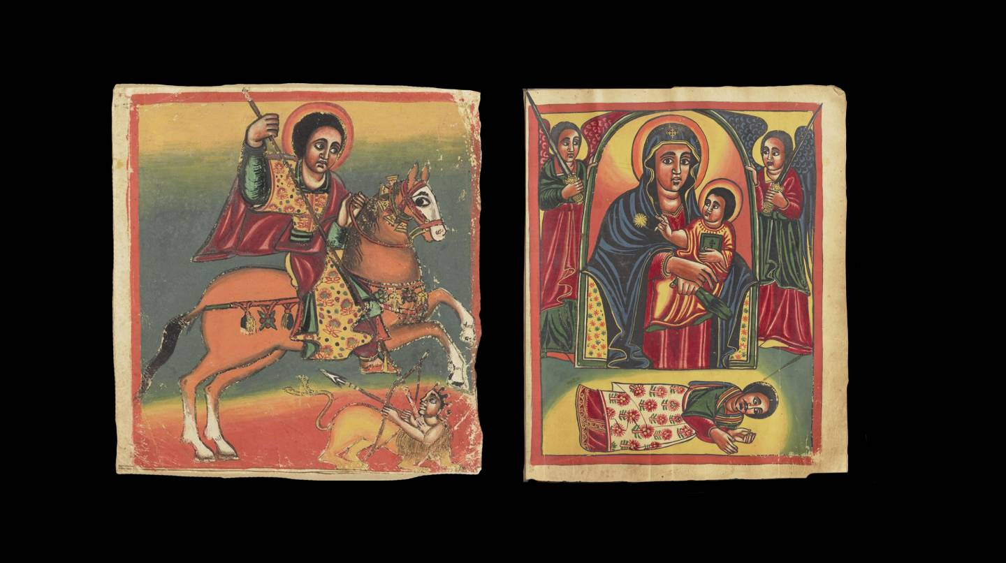 """Two details of illustrated manuscripts from the """"Täˀammərä Maryam,"""" a compilation text of miracle stories written about the Virgin Mary in Ethiopia, Eritrea and Egypt, and preserved in Gəˁəz (classical Ethiopic) between 1300 and the present. Photos courtesy of Princeton University Library"""