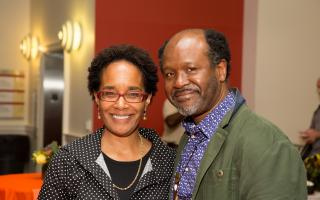 Chika Okeke-Agulu (right) with Program in African Studies Director Carolyn Rouse