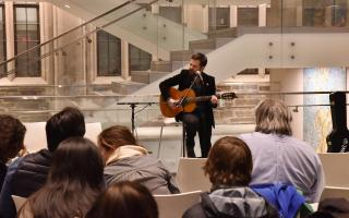 On Thursday, Nov. 15,  students, faculty and staff gathered in Weickart Atrium for a cultural event and reception, featuring Brazilian musician Marcelo Noah, sponsored by the Brazil LAB and Princeton Institute for International and Regional Studies (PIIRS). The event was held in conjunction with International Education Week.