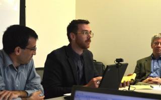 From left: Three of the co-authors on the new paper, 2017 Princeton Ph.D. graduate Lee Mordechai, Georgetown University's Tim Newfield, and Princeton's John Haldon discuss research questions at the May 2017 Climate Change and History Research Initiative colloquium. Haldon created CCHRI to bring historians into dialogue with climate change researchers and archaeologists, to bring nuance to the discussion of how societies react to environmental stress.  Photo by Vered Rekanati
