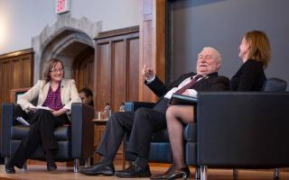 Lech Walesa (center), former president of Poland, spoke at Princeton University April 23 in a question-and-answer format with computer scientist Margaret Martonosi (left), director of the Keller Center for Innovation in Engineering Education. Marzenna James (right), lecturer in politics and international affairs, introduced him and translated his remarks from Polish to English.  Photo by Tori Repp/Fotobuddy