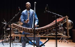 Sambla balafon master Mamadou Diabate and his band Percussion Mania perform at Taplin Auditorium.