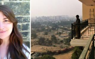 Left: Shoshana Goldstein. Right: A domestic worker in a high rise in Gurugram. Photo by Shoshana Goldstein