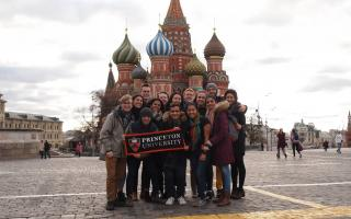 Students in the fall urban studies research seminar delved into historical accounts, literary works, art and film that captured the communities and landmarks of two cities — New York and Moscow. During fall break, the class traveled to Moscow. Pictured: The group visits Red Square, with the famous landmark of St. Basil's Cathedral, now a museum, in the background. Photo by Katherine Reischl, Slavic languages and literatures