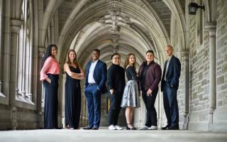 The Spirit of Princeton Award winners for 2019 are Princeton seniors (from left to right): Nenna Ibe, Hannah Paynter, Moyin Opeyemi, G.J. Sevillano, Marcia Brown, Samuel Vilchez Santiago and Kyle Lang. Not pictured is senior Colin Yost. Photo by Sameer A. Khan/Fotobuddy