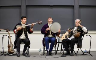 "On Wednesday, May 1, the Program in Russian, East European and Eurasian Studies (REEES) showcased ""Music of the Middle East and Eurasia: A Presentation and Performance of Azerbaijani Mugam."" Photo by Sameer A. Khan/Fotobuddy"